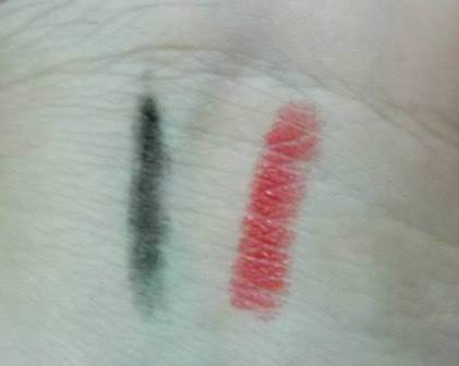 Kohl Pencil and Lady Red Swatch.